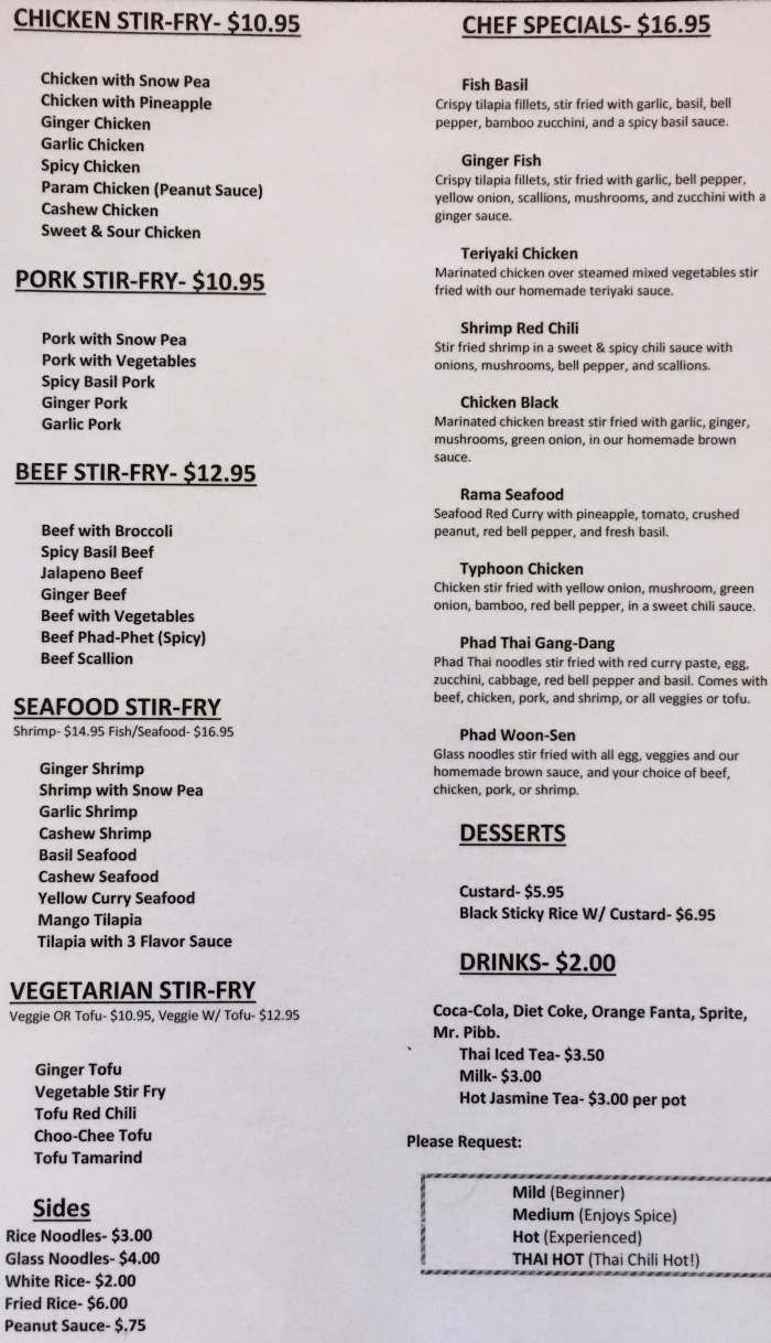 Thai Kitchen Menu, in Durango, CO